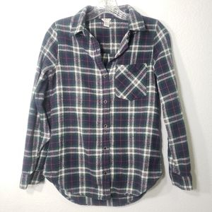 Forever 21 | Blue & Green Button Down Flannel